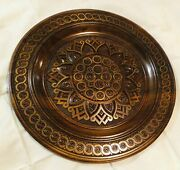 Unique Ukrainian Carved Decorative Plate Wood ,hand Carved And Inlaid Metal