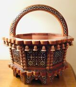 Collectible Unique Ukrainian Easter Basket Hand Carved And Inlaid Easter Basket