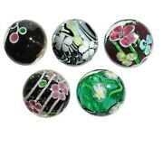 22mm Handmade Art Glass Flower Marbles P 5 W/stands Set D Orchid, Petunia And More