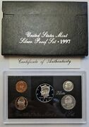 1997 S Proof Set Original Box And Coa 5 Coins 90 Silver Quarters Kennedy Us Mint