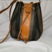 Authentic Vintage Fendi Pequin Coated Canvas And Leather Shoulder Bucket Bag