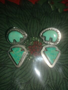 Vintage Turquoise And Silver Zuni Bear And Arrow Earrings Stamped Patterns Sterling