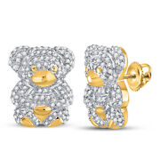 Saris And Things 10kt Yellow Gold Womens Round Diamond Teddy Bear Animal Earring