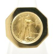 American Dollar Eagle 1/10oz Coin 22k Yellow Gold 18k Ring Free Shipping Used
