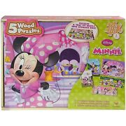 Disney Minnie Mouse 5 Pack Wood Puzzles Storage Box Educational Puzzle Daisy New