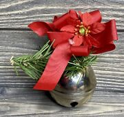 Vintage Christmas Decoration Silver Bell 5andrdquo Red Ribbon Artifical Greenery