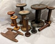 Set 10 Antique Wooden Metal Sewing Bobbins Spools Winder Made England And Usa