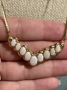 14k Yellow Gold Chevron Opal With Diamond Accent Necklace Stamped Adl