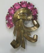 Antique Sterling Silver 925 Pink Crystal Bouquet Brooch Pin Hallmarked Rare