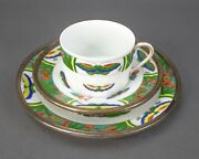 Limoges Tetard Edite A. Raynaud French Sterling Silver Cup Saucer Dessert Plate