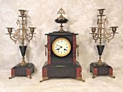 Antique Japy Freres Clock And Candle Garniture Set Bell Strike Running France