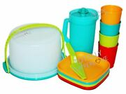 Tupperware Kids Party Play Set Mini Pitcher Tumblers Plates Cake Taker Blue Red