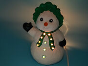 Vintage 1991 Holland Mold Ceramic Christmas Snowman 11 H W/all Light Inserts
