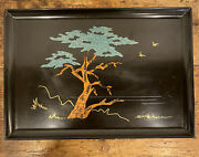 1966 Couroc Of Monterey Ca. Signed Morse Cypress Tree Inlaid Wood Tray 12.5 X 18