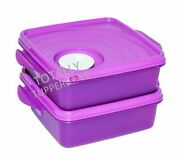 Tupperware 2 Goody Boxes Crystalwave Squares 3.5 Cups W/ Vent Purple And White