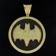 Simulated Diamond Bat Pendant 14k Gold Over Sterling Silver