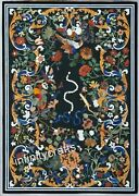 36 X 60 Inches Floral Design Inlaid Black Coffee Table Top Marble Lawn Table