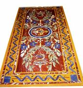 30 X 60 Inches Lawn Table Top Marble Inlay Dining Table With Exclusive Design