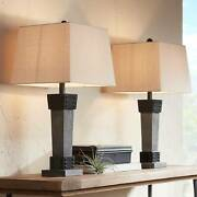 Farmhouse Table Lamps Set Of 2 Led Gray Wood Dark Metal For Living Room Bedroom