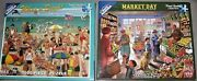 White Mountain Set Of 2 Puzzles What A Beach And Market Day 1000 Piece Complete
