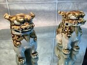 2 Chinese Foo Fu Dogs Guardian Lions Ceramic Figurines 4 Tall Blue Brown