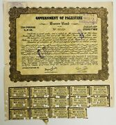 Government Of Palestine 1944 Ten Pounds Bearer Bond Certificate With Coupons 1