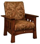 Amish Mission Arts And Crafts Mesa Accent Chair Upholstered Solid Wood Back