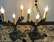 Set Of 2 1930's Art Deco Jadeite Table Lamps Candelabra Style 12 Tall Cast Iron