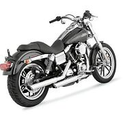 Vance And Hines 16837 Chrome 3 Round Twin Slash Slip-on Mufflers For Dyna 91-17
