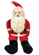 Vintage Large Santa Claus Rubber Face Christmas Stuffed Plush Display 44 Inch
