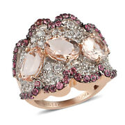 14k Yellow Gold Morganite White Created Sapphire Cluster Ring Gift Size 7 Ct 7.6
