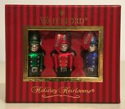 Waterford Holiday Heirloom Toy Soldier Boxed Set Of 3 Glass Ornaments New In Box