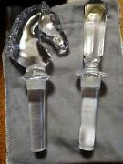 Glass. Liquor Bottle Stopper Pair Horsehead And Finial
