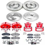 Kc1418b Powerstop 4-wheel Set Brake Disc And Caliper Kits Front For Chevy