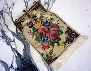 Great Victorian Floral Beaded Purse, 19th Century.