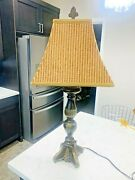 Beautiful Vintage Ethan Allen Georgian Court 4 Sided Brass Table Lamp W/ Shade