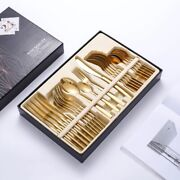 24 Pcs Dishes Set Tableware Cutlery Knives Forks Spoons Kitchen Stainless Steel