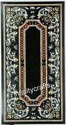 24 X 48 Inches Black Hallway Table Inlay With Ancient Crafts Marble Dining Table