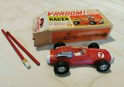 Vintage Mattel V-rroom Guide-whip Racer Red Car Toy 1960s - Boxed And Instructions