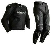 Rst Tractech Evo 4 Motorcycle Sports Ce Leather Jacket/trousers 2pc Black/black