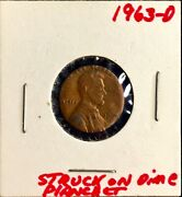 1963 D Lincoln Cent Size Of A Roosevelt Dime.