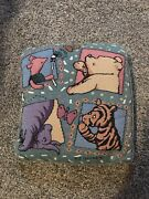 Vtg Disney Classic Winnie The Pooh Piglet Tigger Eeyore Knit Embroidered Pillow