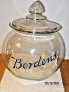 Vintage Bordens Malted Milk Sphere With Pyrimid Dome Lid And Under Glass Lable
