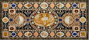 30 X 72 Inch Marble Lawn Table Top Marble Dining Table Inlay With Heritage Work