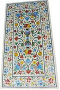Semi Precious Stones Inlaid Kitchen Table Top White Dining Table 24 X 48 Inches