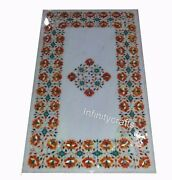 Carnelian Gemstones Work Inlaid Dining Table Marble Lawn Table 24 X 48 Inches