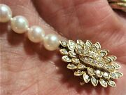 Quality High Grade Akoya Pearl 14k Yellow Gold Diamond Clasp Necklace Signed H