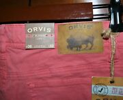 Nwt Men's Orvis Five 5 Pocket Stretch Twill Flat Front Pants Henna Size 36 - 32