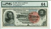 Fr 242 1886 2 Silver Certificate Pmg 64 Choice Uncirculated