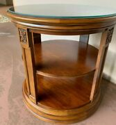 Mint Conditionethan Allen Townhouse Seaver Library Table W/glass Top